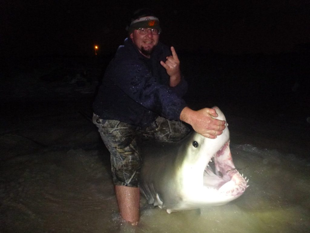 Derrick Keeny with his catch. Dark Side Sharkers Facebook