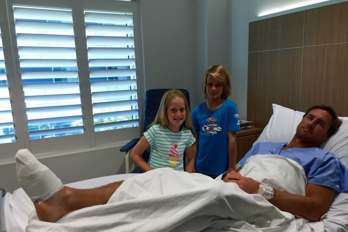 Harry and Molly Hilder visit their dad Shane in hospital Photo: Marianna Hilder
