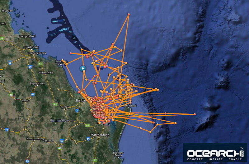 Maroochy's satellite tracking path