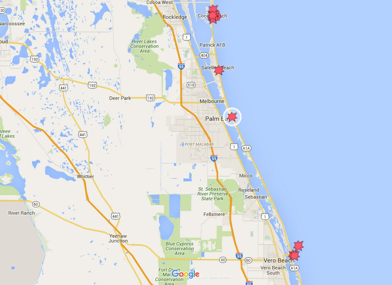 Map Of Melbourne Beach Florida.Shark Bite Reported In Melbourne Beach Florida Tracking Sharks