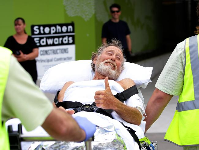 Colin Rowland arrives at hospital Photo: Peter Lorimer.
