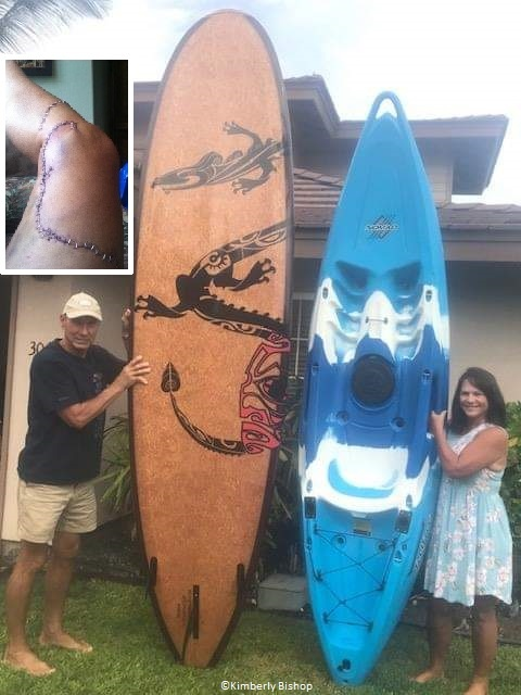 kim and kimberley pose with the ocean gear used during a shark attack in Hawaii