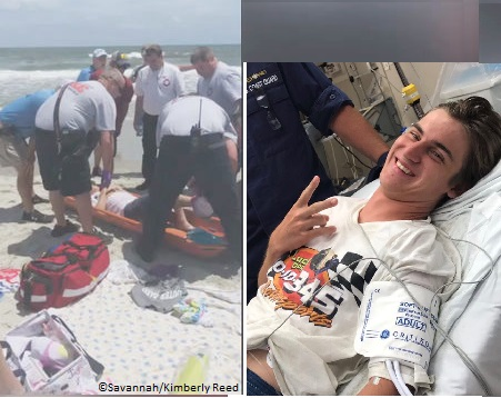 Surfer bitten by shark at Ocean Isle Beach, North Carolina