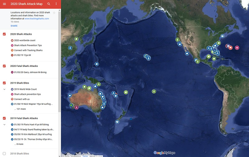 2020 Shark Attack Map Tracking Sharks