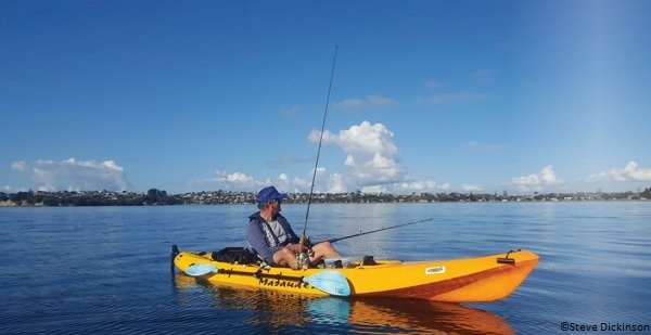 Steve Dickinson and his kayak which was attacked by a great white shark